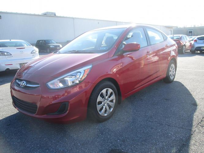 2017 RED Hyundai Accent SE 4-Door 6M (KMHCT4AE7HU) with an 1.6L L4 DOHC 16V engine, 6M transmission, located at 1254 Manheim Pike, Lancaster, PA, 17601, (717) 393-9133, 40.062870, -76.323273 - Photo #0